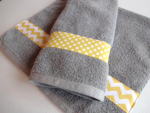 Bath Towels Yellow Grey Bath Towels yellow grey yellow and   Etsy
