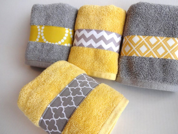 Yellow And Grey Bath Towels Yellow And Grey Yellow And Gray Etsy