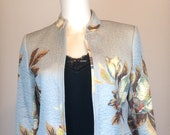 ASIAN INFUSION - Gorgeous 80s 90s STUDIO by Liz Claiborne Jacket - Light Blue, Quilted w Floral Pattern - Lined - Cotton Poly Blend - Sz S