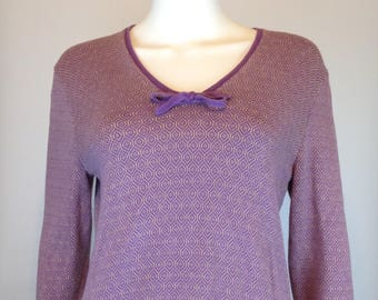 60s/70s PURPLE/LAVENDER Knitted V-Neck Sweater w/Tie - Size Medium