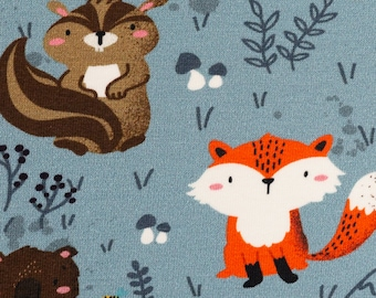 Forest Animals by C. Zielinksky Jersey Fox Raccoon Badger Swafing smoky blue