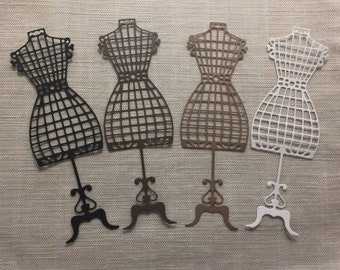 4 Vintage Cage Style Dress Form Die Cuts for Journals, Embellishments, Pockets, Tags, Scrapbooking, or your craft of choice.