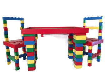 Kids Table And Chairs, 20x30x22, Large Lego Table, Kids Table With Storage,