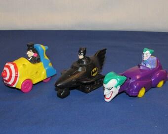 BATMAN Happy Meal Toys 1991 McDonald's Toy Cars – Batman, Penguin and Joker