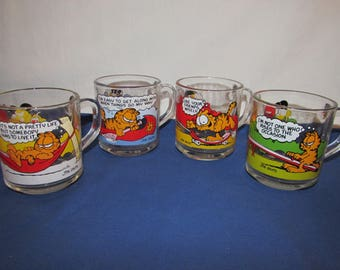 GARFIELD COFFEE MUGS from McDonald's 1980 Set of 4 Anchor Hocking