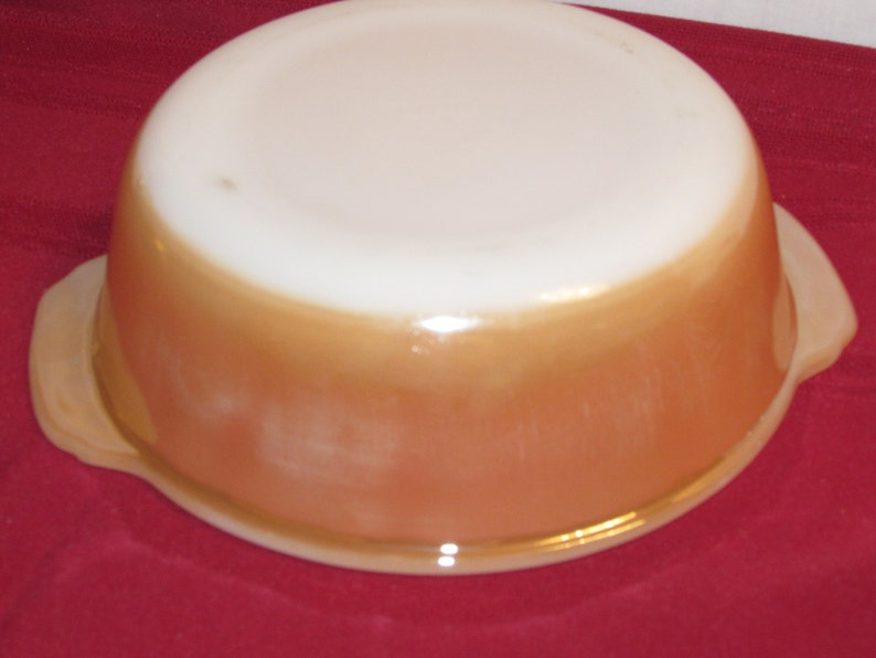 FIRE KING LUSTREWARE 1.5 quart Casserole Dish Iridescent Peach Anchor Hocking Vintage