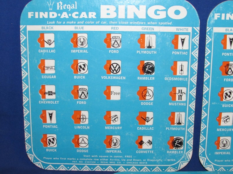 REGAL BINGO CARDS Find a Car Road Trip Game Free Shipping