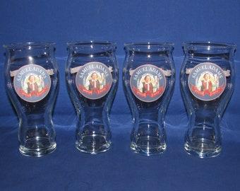SAMUEL ADAMS BEER Glasses Set of 4 Brewerania Vintage Advertising