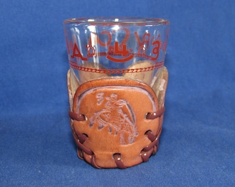 WESTERN SHOT GLASS with Cattle Brands and Leather Sleeve