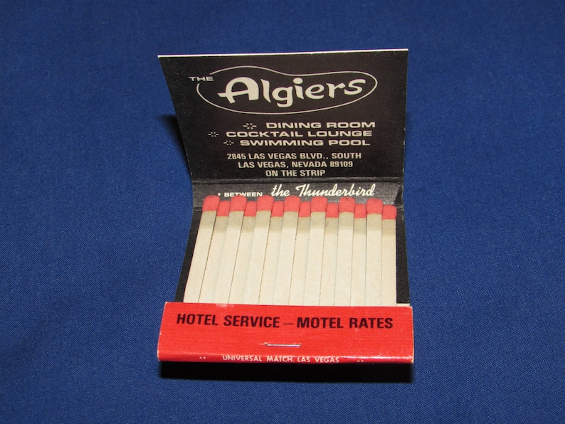 ALGIERS MATCHBOOK Las Vegas Matches Advertising Tobacciana Vintage