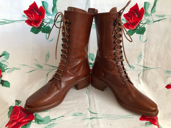 SOLD! 90s Joan & David Lace Up Cognac Leather Gran