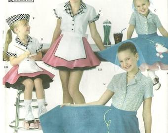 Simplicity 3836 Girls Circle Poodle Skirt Car Hop Halloween Costume Sewing Pattern 7 - 8 - 10