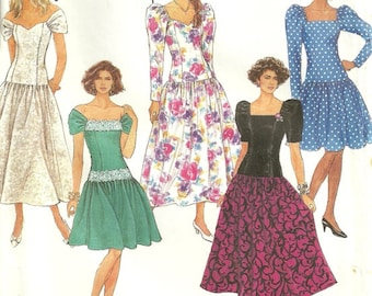 Simplicity 7006 Romantic Shoulder Baring Vintage Bardot Party Prom Dress Sewing Pattern Size 4 - 6 - 8 - 10 - 12