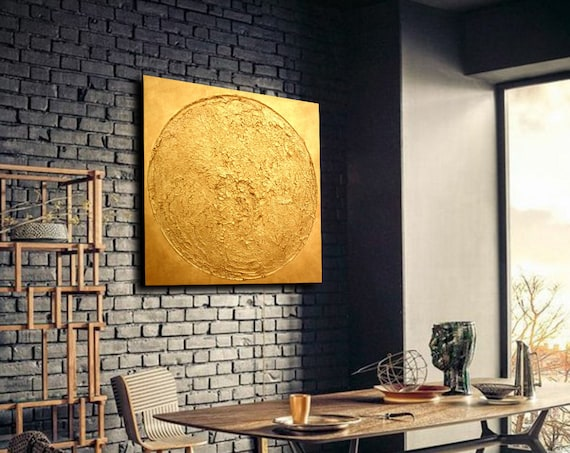 Golden Circle  Wall ART . Abstract Painting . Minimalist Art. contemporary art . abstract painting . original painting . paintings on canvas