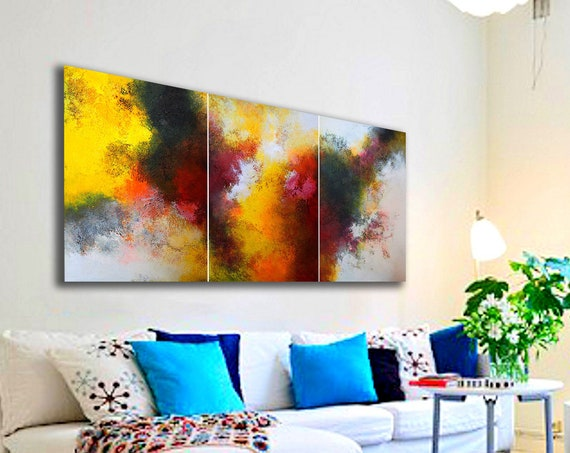 large abstract triptych / abstract painting / contemporary art / modern original wall art decor / large painting / large wall art abstract