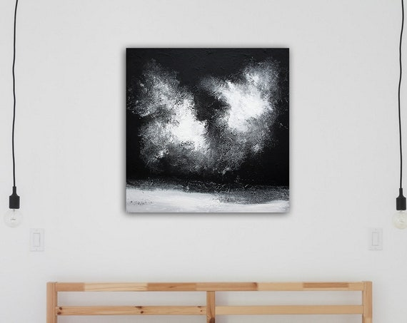 black and white Original Textured Abstract Painting, Acrylic Painting on Canvas.  Wall Art, Modern painting, abstract painting, modern art
