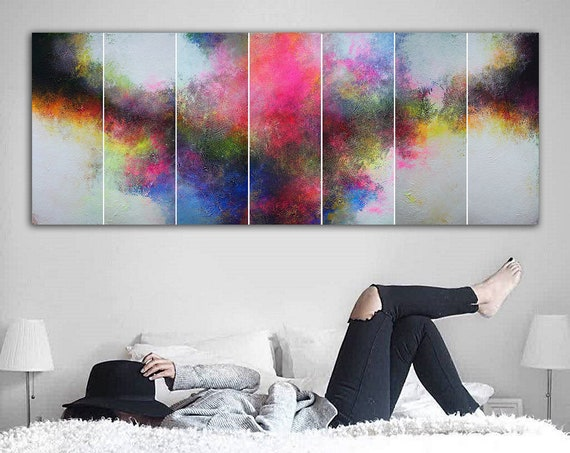 210x80cm. / Contemporary panoramic painting on canvas . Abstract painting . Contemporary ART. Modern, original, wall art. large abstract art