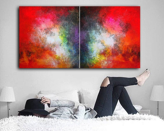 180x90cm two piece abstract painting . large artwork, modern wall art, wrapped canvas, abstract painting, original painting, abstract art