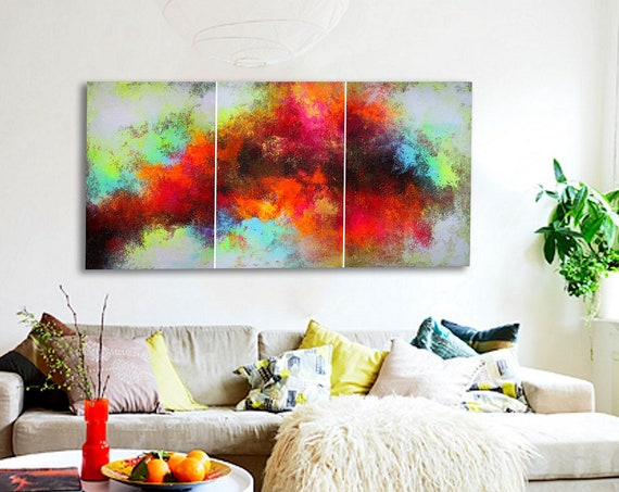 Large Original Abstract Painting . Painting on canvas. Hand Painted Wall Art. acrylic painting . Abstract triptych by artist. abstract art