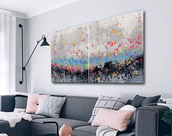 180x90cm two piece abstract painting . large artwork, modern art, wrapped canvas, abstract painting, original painting, abstract wall art
