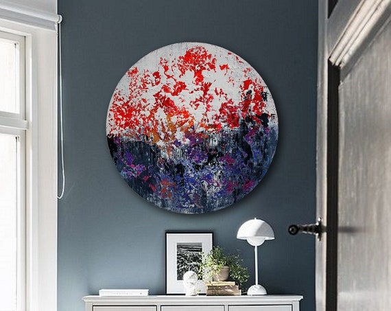 Circular abstract acrylic painting on round stretched canvas. Original Abstract Painting On Canvas, Contemporary Wall Art, Modern art