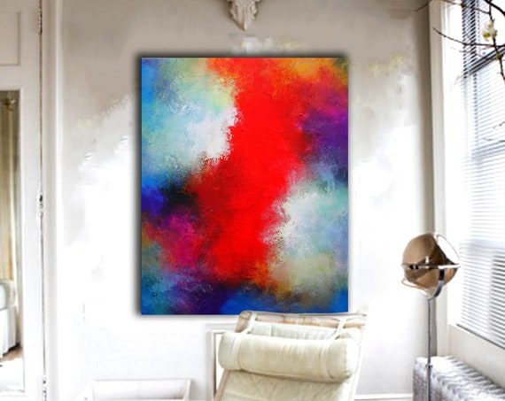 red and blue original artwork, 120x100cm, neutral artwork, original painting, abstract painting, contemporary wall art, abstract canvas