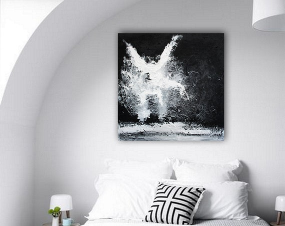 Black and White Abstract Painting on Canvas,Large Painting on Canvas,painting home decor,canvas large,livingroom decor art,  Wall Art