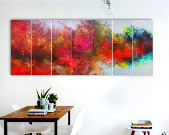 Colored Panoramic painting on canvas . Abstract painting . 7 in 1 .  Contemporary ART. Modern, original, wall art. large abstract . abstract