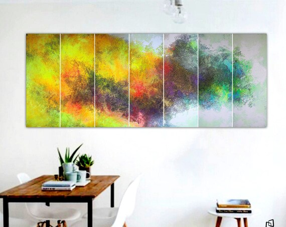 210x80cm. XXLarge abstract painting. 7 in 1 .  Contemporary ART. Modern, original, wall art. abstract . abstract art . large art painting