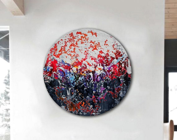 Circular abstract acrylic painting on round stretched canvas. Original Abstract Painting On Canvas, Contemporary Wall Art, Modern painting