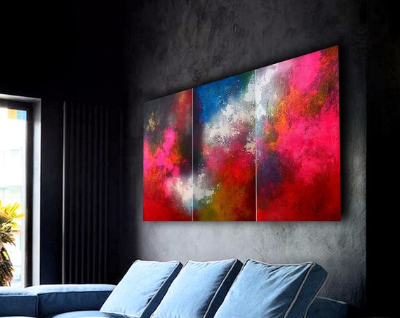 abstract triptych / abstract painting / contemporary art / modern original wall art decor / large painting / extra large wall art abstract