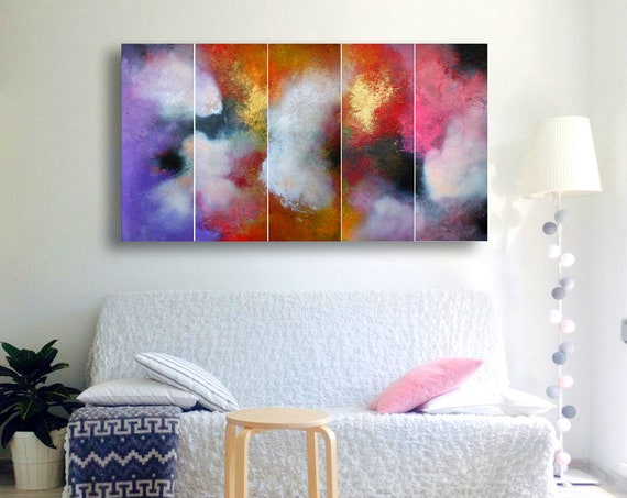 modern painting abstract art . abstract painting . 5 in 1 . Contemporary Painting . original, canvas, wall art. original abstract painting