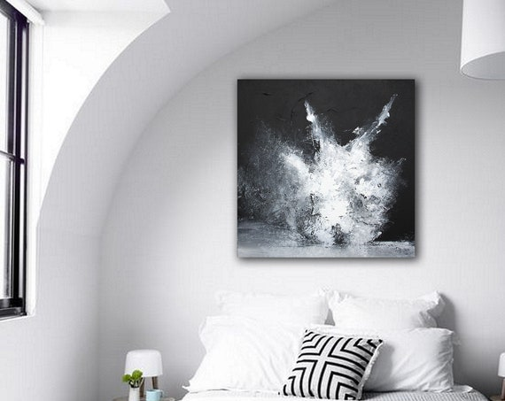 black and white modern abstract painting . Contemporary art . Modern & Original, Wall Art . modern original paintings . modern abstract art