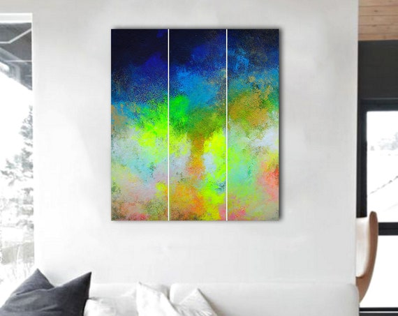 Abstract Triptych. abstract painting . Large Abstract Painting. 3 in 1 . Contemporary ART. abstract wall art.  original painting . abstract.