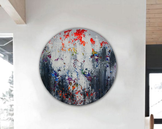 Abstract painting on round stretched canvas. Original Abstract Painting On Canvas, Contemporary Wall Art . Circular Modern painting