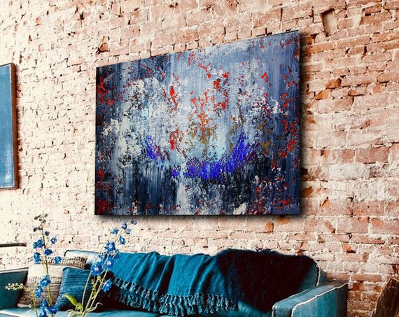 Gray Original Abstract Painting On Canvas, Contemporary Wall Art, Extra Large Wall Art ,Abstract on Canvas, Original Paintings, Modern art