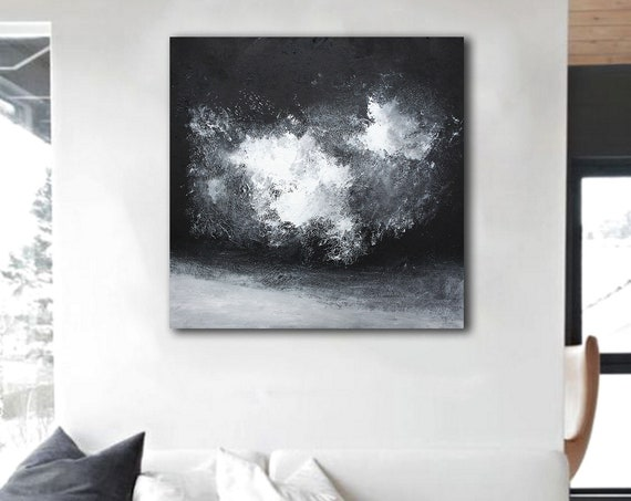 black and white abstract painting / abstract art / wall art / original painting / acrylic painting / painting / large painting / modern art