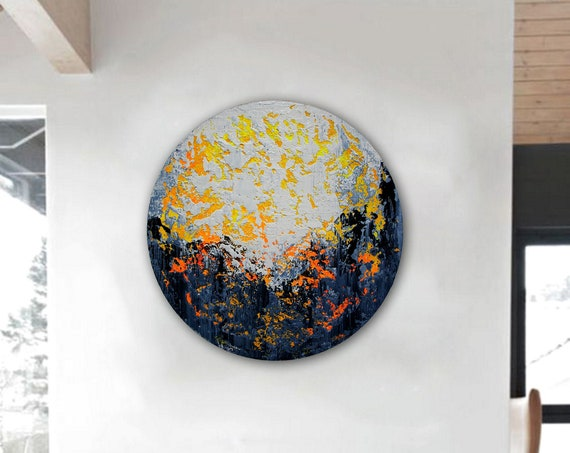 Circular painting. Abstract painting on round stretched canvas. Original Abstract Painting On Canvas, Contemporary Wall Art, Modern painting