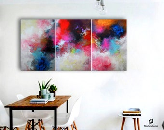 Large Original Abstract Painting . Painting on canvas . Hand Painted Wall Art . acrylic painting . Abstract triptych by artist . abstract