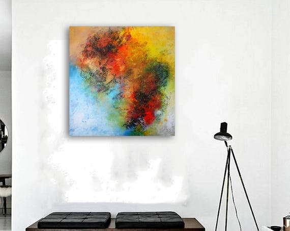 Large abstract painting by Alex Senchenko. Contemporary ART. Modern & Original, Wall Art . FREE SHIPPING. 100% Hand-Made.