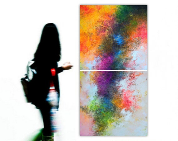 Large Abstract Painting. 2 in 1 . Modern. Original. Canvas . Abstract Painting . Wall Art. Decor.  Artist : Alex Senchenko ©