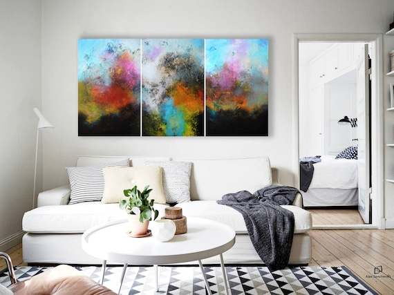 XXLarge abstract painting by Alex Senchenko. Contemporary ART. Modern, original, wall art. 100% Hand-Made. Ready to hang.  LOOKS STUNNINGLY.