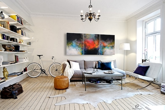 abstract expressionism / abstract triptych / abstract painting / contemporary art / abstract landscape /  large painting / abstract