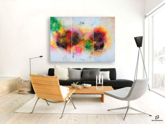 large painting by artist Alex Senchenko > triptych wall art >  Contemporary ART > original paintings > painting best gift > abstract art