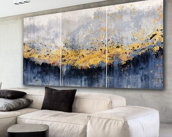 Large abstract painting by Alex Senchenko. Contemporary ART. Modern, original, wall art. 100% Hand-Made. Abstract triptych. modern abstract
