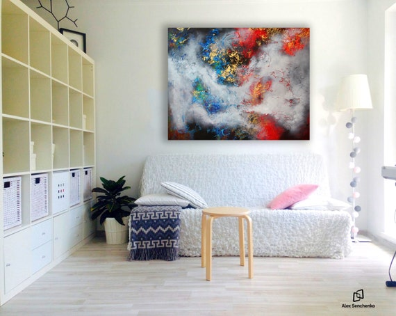 Large abstract painting by Alex Senchenko. Contemporary ART. Modern, original, wall art.  100% Hand-Made.