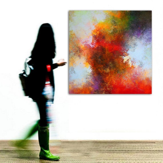 Abstract Painting Handmade Canvas Wall Art Original Acrylic Large Modern Design Artwork Ideal for Living Room Office Home Love Gift 120x120