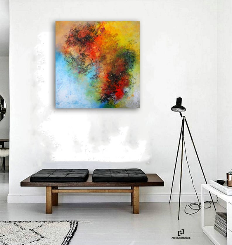Large abstract painting by Alex Senchenko  Contemporary ART  Modern &  Original, Wall Art   FREE SHIPPING  100% Hand-Made