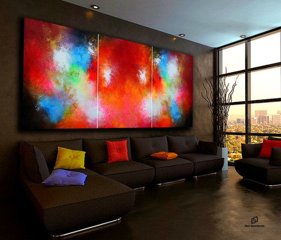 Panoramic painting . Abstract painting by Alex Senchenko. 3 in 1 .  Contemporary ART. Modern, original, wall art. large abstract . abstract