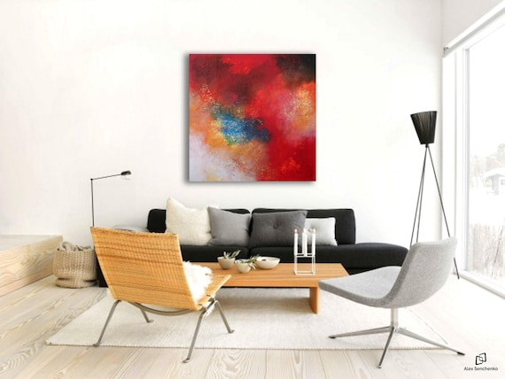 Large urban abstract painting by Alex Senchenko. Contemporary ART. Modern, original, wall art.   100% Hand-Made.  LOOKS STUNNINGLY.